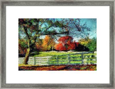 Autumn Field On The Farm Framed Print