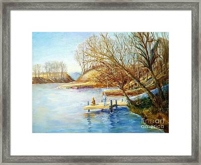 Autumn Fishing At The Lake Framed Print
