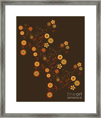 Framed Print featuring the digital art Autumn Flower Explosion by Methune Hively