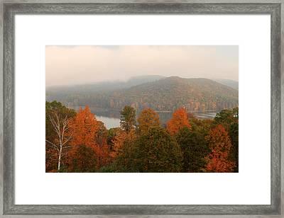 Autumn Fog At Quabbin Reservoir Framed Print by John Burk