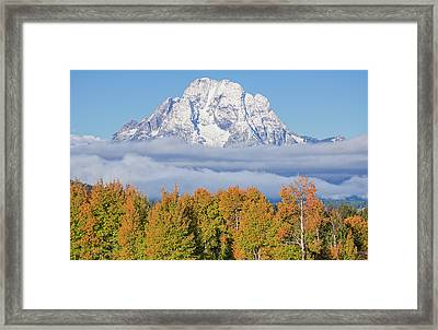 Autumn Fog Below Mt. Moran Framed Print