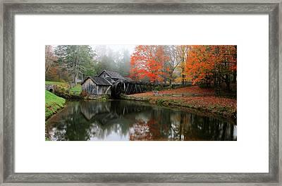 Autumn Foggy Morning At Mabry Mill Virginia  Framed Print