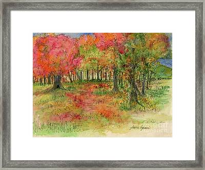 Autumn Forest Watercolor Illustration Framed Print