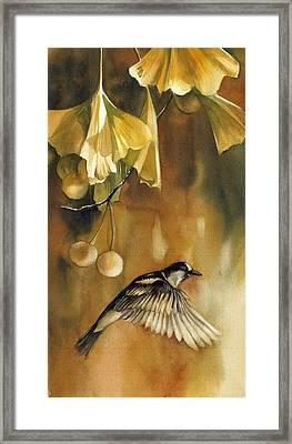 Autumn Ginkgo With Sparrow Framed Print