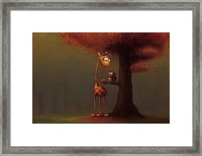 Autumn Giraffe Framed Print by Tooshtoosh
