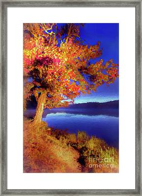 Framed Print featuring the digital art Autumn Glow Before Sunrise In The Blue Ridge Ap by Dan Carmichael