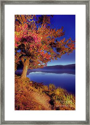 Framed Print featuring the photograph Autumn Glow Before Sunrise In The Blue Ridge by Dan Carmichael
