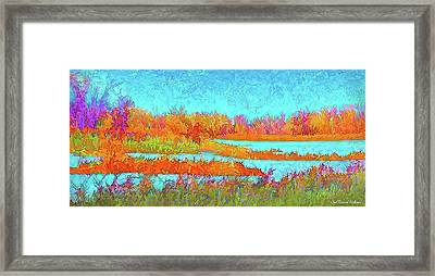 Framed Print featuring the digital art Autumn Grassy Meadow With Floating Lakes by Joel Bruce Wallach