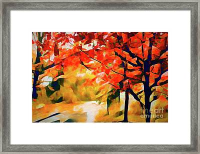 Glorious Foliage On The Rail Trail - Abstract Framed Print
