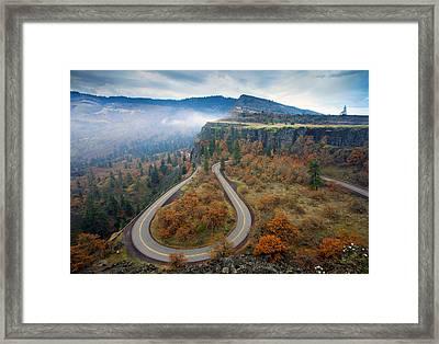 Autumn Hairpin Turn Framed Print by Mike  Dawson
