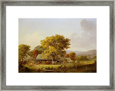 Autumn In New England, Cider Making Framed Print by George Henry Durrie