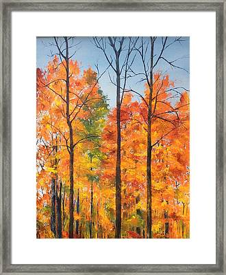 Framed Print featuring the painting Autumn In South Wales Ny by Ellen Canfield
