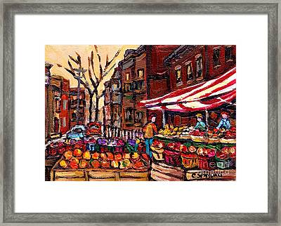 Autumn In The City Outdoor Market Small Format Paintings For Sale Best Montreal Art Carole Spandau Framed Print by Carole Spandau