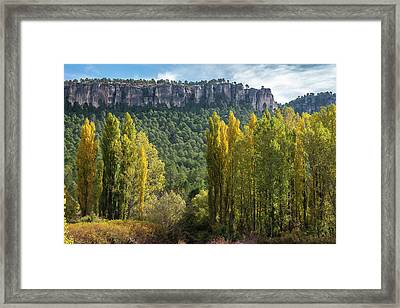 Autumn In The Hoz Del Beteta Gorge. In The Serrania De Cuenca, Spain. Framed Print by Peter Eastland