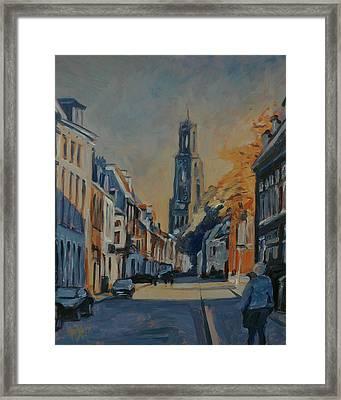 Autumn In The Lange Nieuwstraat Utrecht Framed Print