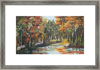 Autumn In The Woods Framed Print by Mabel Moyano