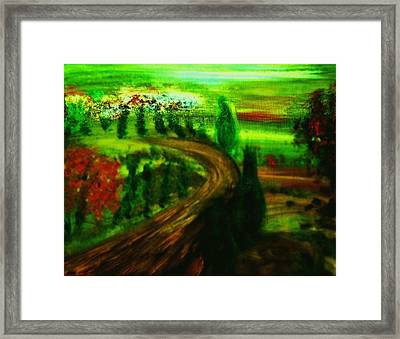 Framed Print featuring the painting Autumn In Tuscany by Evelina Popilian