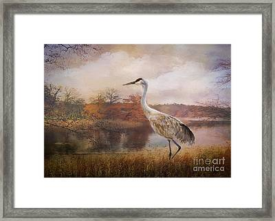 Autumn Lake Crane Framed Print