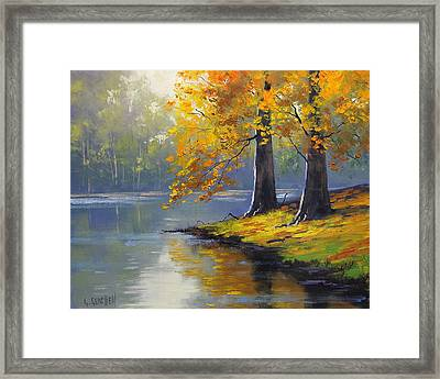 Autumn Lake Print Framed Print by Graham Gercken