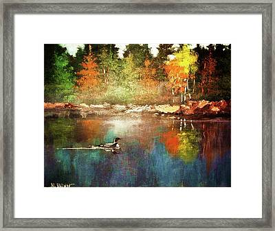 Autumn Lake Reflections Framed Print