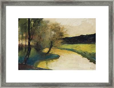 Autumn Landscape Of Brook In The Evening Light Framed Print
