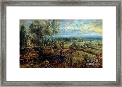 Autumn Landscape With A View Of Het Steen In The Early Morning,  Framed Print
