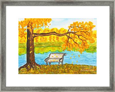 Autumn Landscape With Tree And Bench, Painting Framed Print