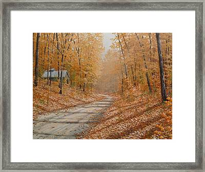 Autumn Lane Framed Print