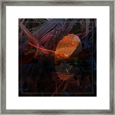Framed Print featuring the digital art Autumn Leaf by Stuart Turnbull