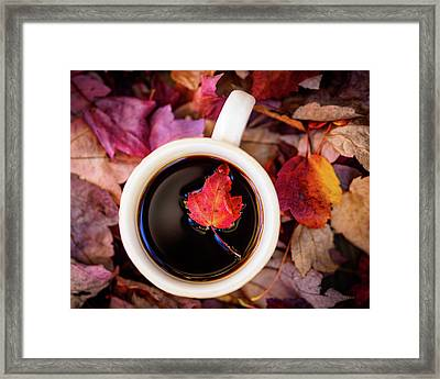 Autumn Leaves And Hot Coffee Framed Print
