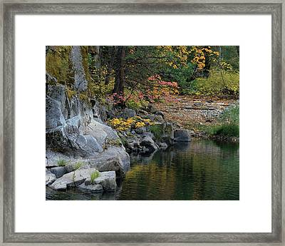 Autumn Leaves And Merced River, Mariposa County, California Framed Print by Troy Montemayor