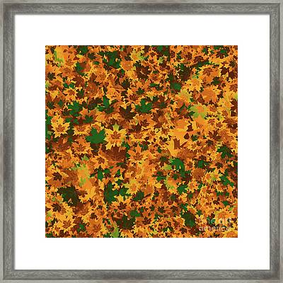 Framed Print featuring the digital art Autumn Leaves Pattern by Methune Hively