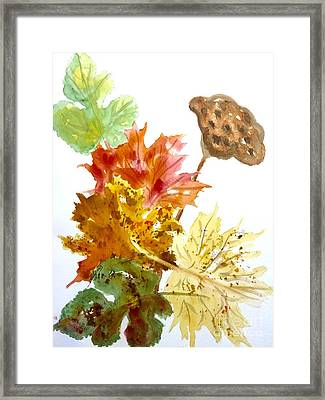 Autumn Leaves Still Life Framed Print by Ellen Levinson