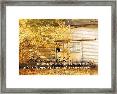 Autumn Light Quote Framed Print by JAMART Photography