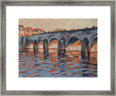Autumn Light Through The Saint Servaas Bridge Maastricht Framed Print