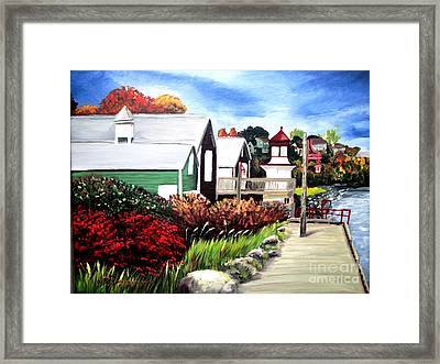 Framed Print featuring the painting Autumn Lighthouse Miramichi New Brunswick Canada by Patricia L Davidson