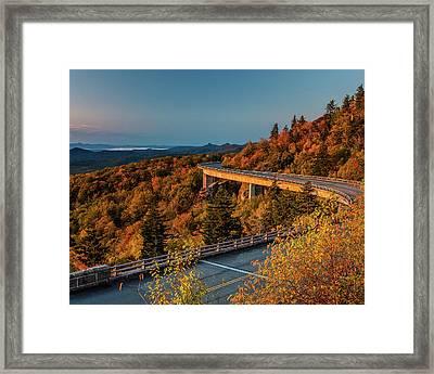 Morning Sun Light - Autumn Linn Cove Viaduct Fall Foliage Framed Print