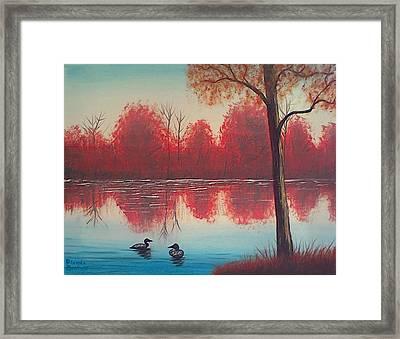 Autumn Loons Framed Print