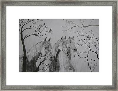 Framed Print featuring the drawing Autumn by Melita Safran