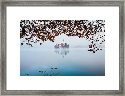 Autumn Mist Over Lake Bled Framed Print