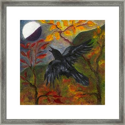 Autumn Moon Raven Framed Print