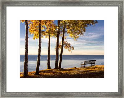 Autumn Morn On The Lake Framed Print by Mary Amerman