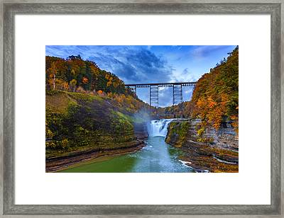 Autumn Morning At Upper Falls Framed Print by Rick Berk
