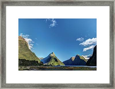 Framed Print featuring the photograph Autumn Morning Milford Sound by Gary Eason