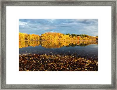 Autumn Morning Reflection On Lake Pentucket Framed Print