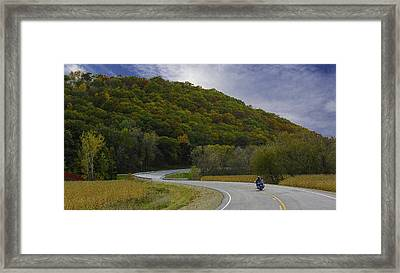 Autumn Motorcycle Rider / Blue Framed Print