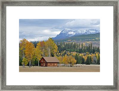 Autumn Mountain Cabin In Glacier Park Framed Print by Bruce Gourley