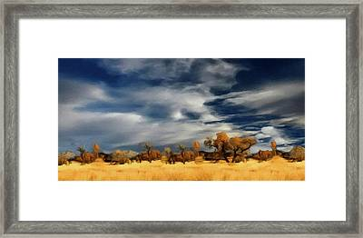 Framed Print featuring the painting Autumn On The Edge Of The Great Plains  by David Dehner