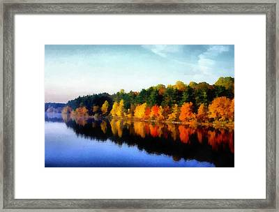 Autumn On The Lake Framed Print by Joseph Frank Baraba
