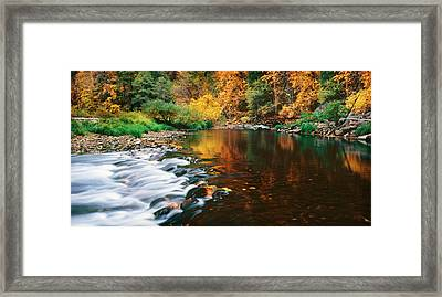 Autumn On The Merced River Yosemite Np Framed Print by Edward Mendes